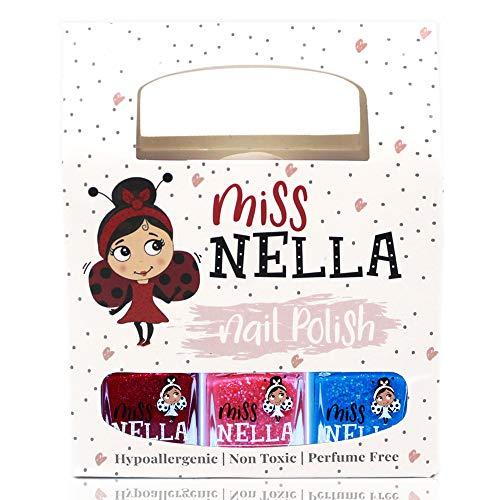Miss Nella WINTER GLITTERS SPECIAL Nagellack 3er Set: Sugar Hugs, Jazzberry Jam & Under The Sea, abziehbarer Nagellack speziell für Kinder, Peel-Off-Formel, ungiftig, wasserbasiert und geruchsneutral