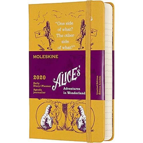 Moleskine Agenda Giornaliera 12 Mesi 2020 Alice nel Paese delle Meraviglie Special Edition Giallo con Copertina Rigida e Chiusura ad Elastico, Dimensione Pocket 9 x 14 cm, 400 Pagine