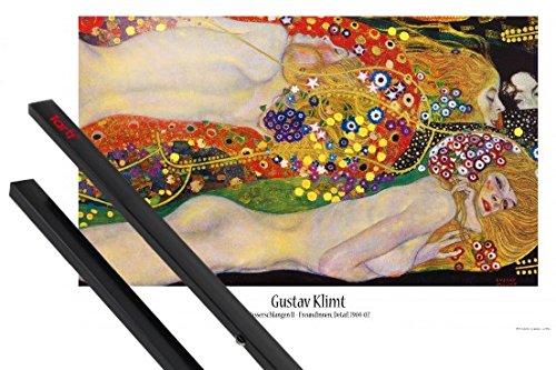 1art1 Gustav Klimt Póster (91x61 cm) Serpientes De Agua II, 1904-1907 Y 1 Lote De 2 Varillas Negras