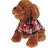 ふく福 可愛い 格子縞パターン 小中型犬服Tシャツ ペットアパレル服 お散歩お出かけウェアに 春夏服 (L, 赤)