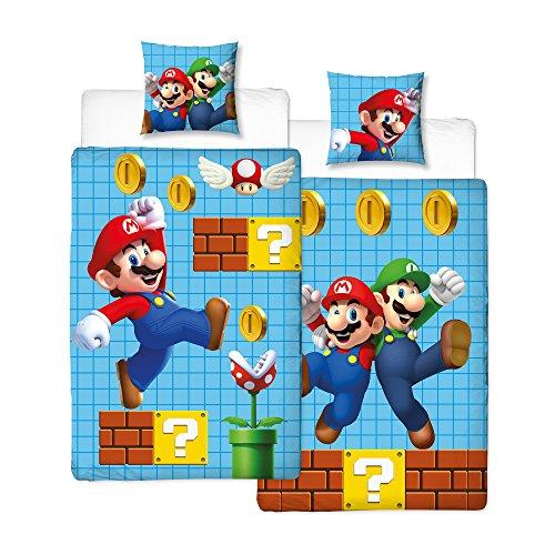 NINTENDO Super Mario - Juego de cama infantil reversible, funda de almohada de 80 x 80 cm y funda nórdica de 135 x 200 cm, 100% algodón