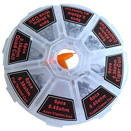 8 en 1 Coil Platte Twisted Mix Twisted Fusionado Clapton Alien Clapton Bobina prefabricada + Destornillador tipo T + cepillo de limpieza piezas de herramientas