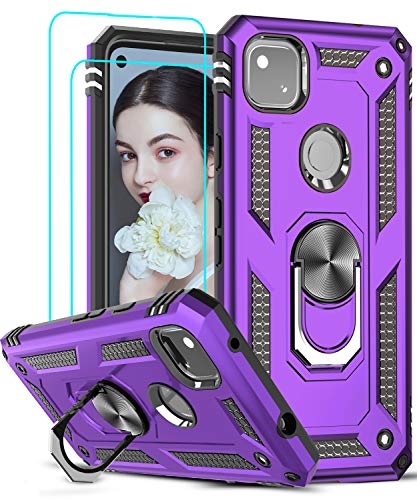 Google Pixel 4A Case (Not Fit Pixel 4A 5G) with 2PCS Tempered Glass Screen Protector, LeYi [Military-Grade] Defender Protective Phone Case with Ring Kickstand for Google Pixel 4A 2020, Purple