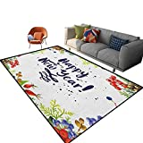New Year Indoor Carpet for Boys Rowan Cones Wild Grapes and Arborvitae Branches Composition with Happy Year Quote Rug for Dorm Living Room Kids Carpet 2'x 3'