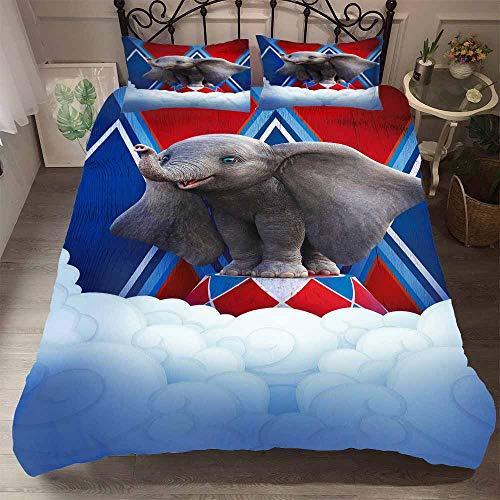YOMOCO Dumbo Duvet Cover Set - Duvet Cover and Pillowcase, Microfibre, 3D Digital Print 3-Piece Bed Linen Set, 05, Double 200x200cm