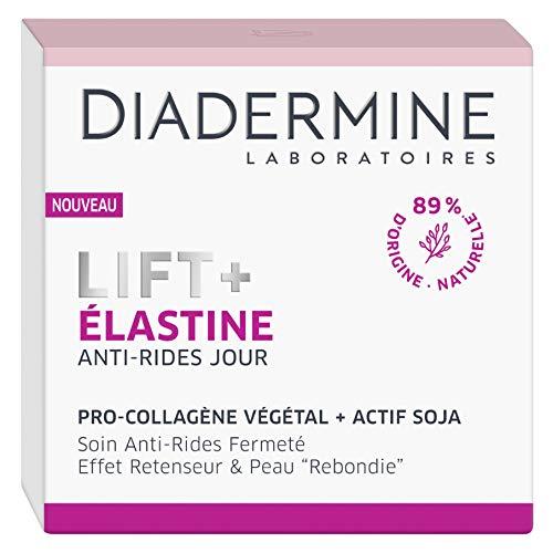 Diadermine - Lift+ Elastine - Crème de Jour Visage Anti-Rides Ultra Tenseur - Soin Fermeté - Pro-Collagène végétal et actif soja - 89% d'ingrédients d'origine naturelle - Pot de 50 ml