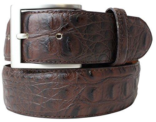 Gürtel mit Krokoprägung 4 cm | Leder-Gürtel für Damen Herren 40mm Kroko-Optik | Kroko-Muster 4cm | Braun 80cm