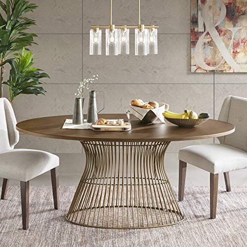 INK+IVY Mercer Dining Oval Solid Wood Tabletop, Metal Wire Frame Base Mid-Century Modern Style Dinner Tables, 70' Wide, Bronze