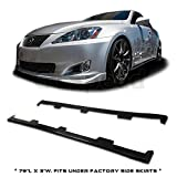 GT-Speed - Splitter Style PU Side Skirt Add-on Lip - Compatible With 2006-2013 Lexus IS250 IS350 (May fit on other vehicle/Measure before purchase: 79'L x 3'W)