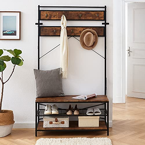 Bacswihom Coat Rack with Shoe Bench for Entryway, 3-in-1 Design Industrial Hall Tree with Storage Shelf, Large Size, Wood Look Accent Furniture with Metal Frame, Rustic Brown