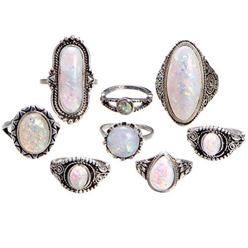 LUOEM Anelli vintage con pietra bianca per Regalo delle donne e delle ragazze 8PCS