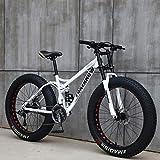 Bicicletas de Montaña 26 Pulgadas, MJH-01 24 Velocidad Bicicleta de Montaña de Fat Tire para Adultos, Marco de Acero de Alto Carbono Doble Suspensión Completa Doble Freno de Disco, Blanco/Rojo