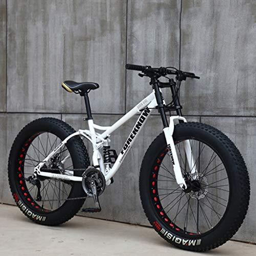 Bicicletas de Montaña 26 Pulgadas, MJH-01 24 Velocidad Bicicleta de Montaña de Fat Tire para Adultos, Marco de Acero de Alto Carbono Doble Suspensión Completa Doble Freno de Disco, Blanco Rojo