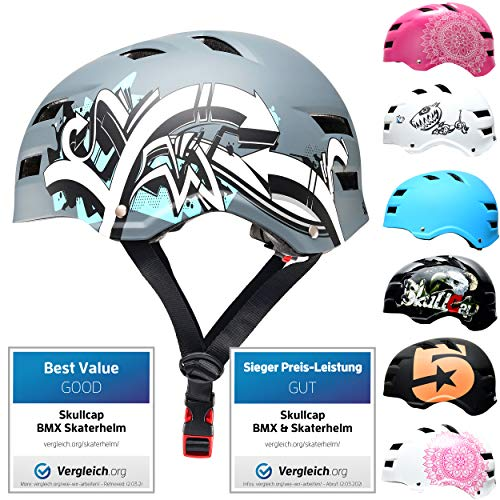 SkullCap® Casco de Skate y BMX - Bicicleta Y Scooter Eléctrico, Diseño: Graffiti, Talla: L (58-61 cm)