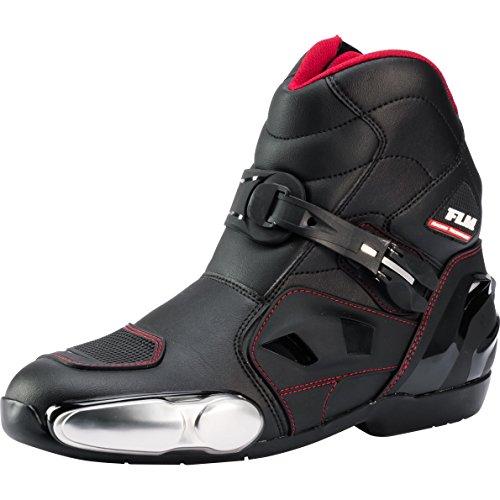 FLM Motorradschuhe, Motorradstiefel kurz Herren, seitlicher Zipper, Klettriegel, Verschluss-Schnalle, Schaltverstärkung, Belüftungssystem, Knöchelprotektoren, Metallzehenschleifer, schwarz, 41-46