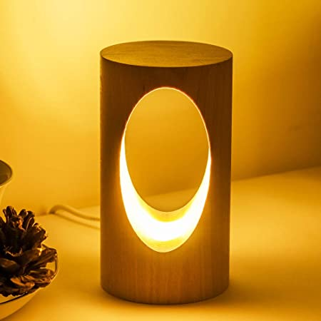 LEDの木製の電気スタンド、寝室のベッドサイドのナイトライト、調光可能なLed照明、創造的な家の装飾のテーブルランプ、ユニークな新築祝いのギフト