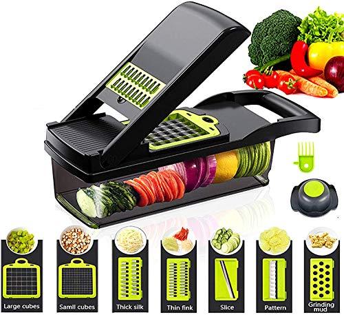 D L D Picador de verduras Vegetales Chopper de Alimentos y Dicer Cortador de cebolla Chopper Cortador de verduras Patata Fruta Chopper (negro)