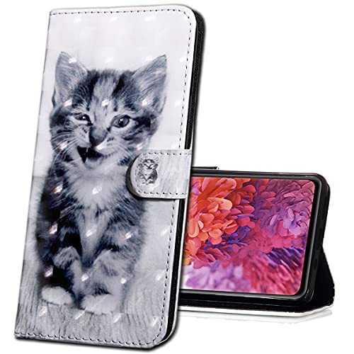 MRSTER Nokia 6.1 Plus Handytasche, Leder Schutzhülle Brieftasche Hülle Flip Hülle 3D Muster Cover mit Kartenfach Magnet Tasche Handyhüllen für Nokia 6.1 Plus (2018). BX 3D - Smiley Cat