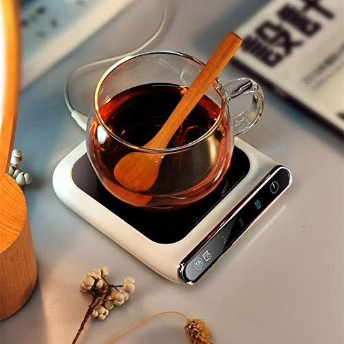 FuTaiKang Calentador de taza de café de 55°, calentador inteligente por infrarrojos con control de pantalla táctil y protección contra fallos de energía, posavasos calentador USB para té, agua, cacao, leche en casa y oficina