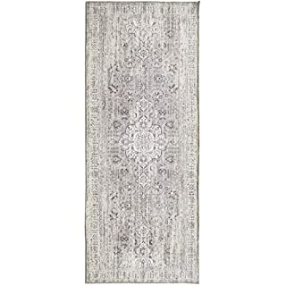 """ReaLife Rugs Machine Washable Rug - Stain Resistant, Non-Shed - Eco-Friendly, Non-Slip, Family & Pet Friendly - Made from Premium Recycled Fibers - Persian Distressed - Beige, 2'6"""" x 6' (B08631T479) 