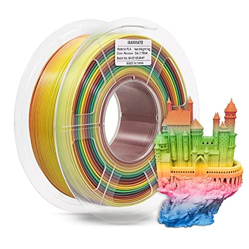 iSANMATE's 3D Printer Filament, PLA Filament 1.75 mm Dimensional Accuracy +/- 0.03 mm, 1 KG Spool, PLA Rainbow Multicolor