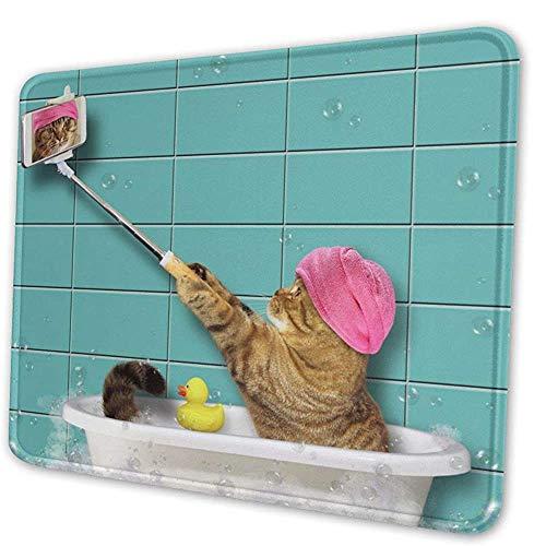 Mausepad Badekatze Schaumbad In Der Badewanne Selfies Lustiges Kätzchen Rechteck Rutschfestes Gummi Mousepad Benutzerdefinierte Spielmatte Computer 3 Größen Laptop Schule Bürozube 20X24cm