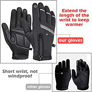 Tomuku Guantes de Invierno Super Cálido Impermeable Pantalla Táctil A Prueba de Viento Antideslizante para Moto y Senderismo Acampada Ciclismo Mujer Hombre (XL)