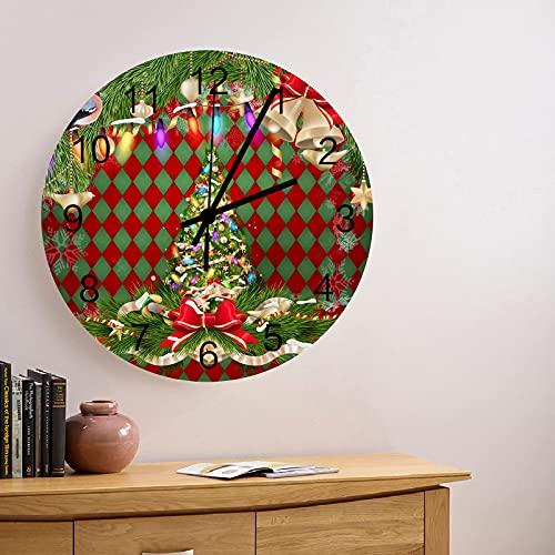 Reloj de Pared de Madera Redondo silencioso sin tictac de 10 Pulgadas, árbol de Lazo de Navidad con Luces, Fondo de Cuadros de Diamantes Rojos y Verdes, Reloj de Manos con números Romanos, decoración
