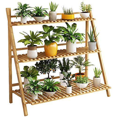 MELLRO Flower Stand Foldable Multifunctional Plant Flower Display Stand Storage Rack Bookcase Bookshelf Natural Bamboo Ladder Shelf Indoor Outdoor Home Decoration (Color, Size : 100x40x96cm)