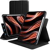 KingBlanc Magnetische Flüssige Silikon Hülle für iPad Air 4. Generation 10,9 2020 [Vertikal und Horizontal Ständer] mit Apple Pencil Halter, Trifold Ständer Schutzhülle mit Auto Sleep/Wake, Schwarz