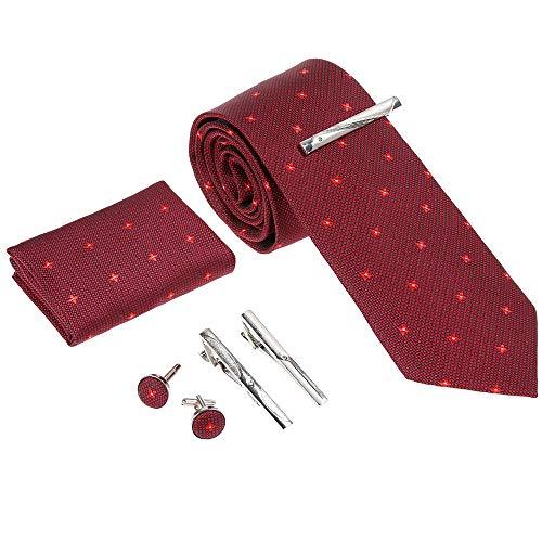 Rovtop Corbatas de Hombre Enrejado Caja Regalo Conjunto - Corbata Roja con Lazos, Gemelos, Pañuelo, 3 Clips de Barra de Corbata, Imitación de Seda Cosida a Mano en Caja de Regalo