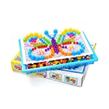 Hemore Puzzle Pegboard 296pcs DIY Mushroom clavos Puzzle Mosaico Pegboard Juguetes Educativos para Niños Niños