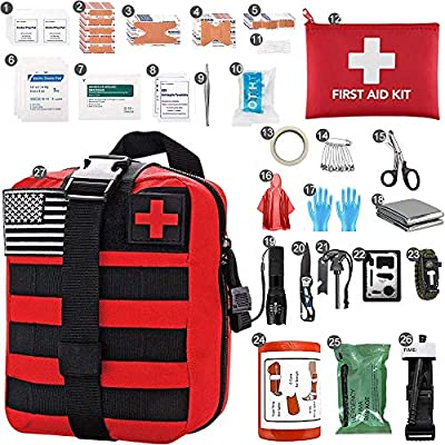 Auzzlife First Aid Kit for Office,Home,Camping Outdoors,Outdoor First Aid Kit Backpack Edition Emergency Survival Bag Camping First Aid Supplies Hiking Backpack