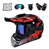 MRDEAR Casque Motocross Homme, Noir et Rouge, Adulte Casque Moto Cross Moto Set, Goggle/Gants/Masque/Filet à Elastique, Enfant Casque VTT Integral BMX Quad Enduro ATV Scooter, Certification Dot,XL