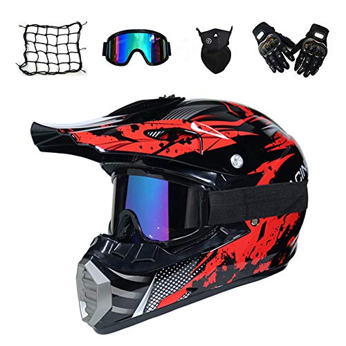 MRDEAR Casco de Motocross Hombre (5 Pcs) - Negro y Rojo - Casco MTB Integral Off-Road Enduro Racing Scooter Motocicleta Quad · Dot Certificado,L