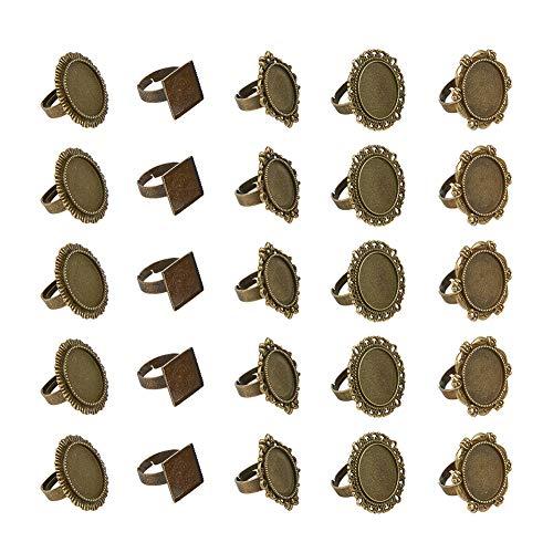 PandaHall Elite - 50 bases de anillo con anillo ajustable, accesorios para anillos vintage, bronce envejecido, 5 estilos.