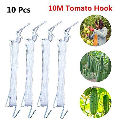 UXTX Ganchos de Soporte de Plantas de Tomate de 10 Piezas, Ganchos de Soporte de Tomate J, Ganchos Anti-aplastamiento de Abrazadera de Verduras, Cuerda de Soporte de Vid de Tomate de 10 M