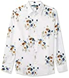 Perry Ellis Men's Slim Fit Floral Print Long Sleeve Button-Down Shirt, Bright White, Large