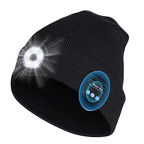 Leeofty Música inalámbrica BT Hat LED Wireless Call Knitted Hat Night Running Iluminación Exterior Lámpara de Emergencia Cálido Sombrero de Punto Multifuncional