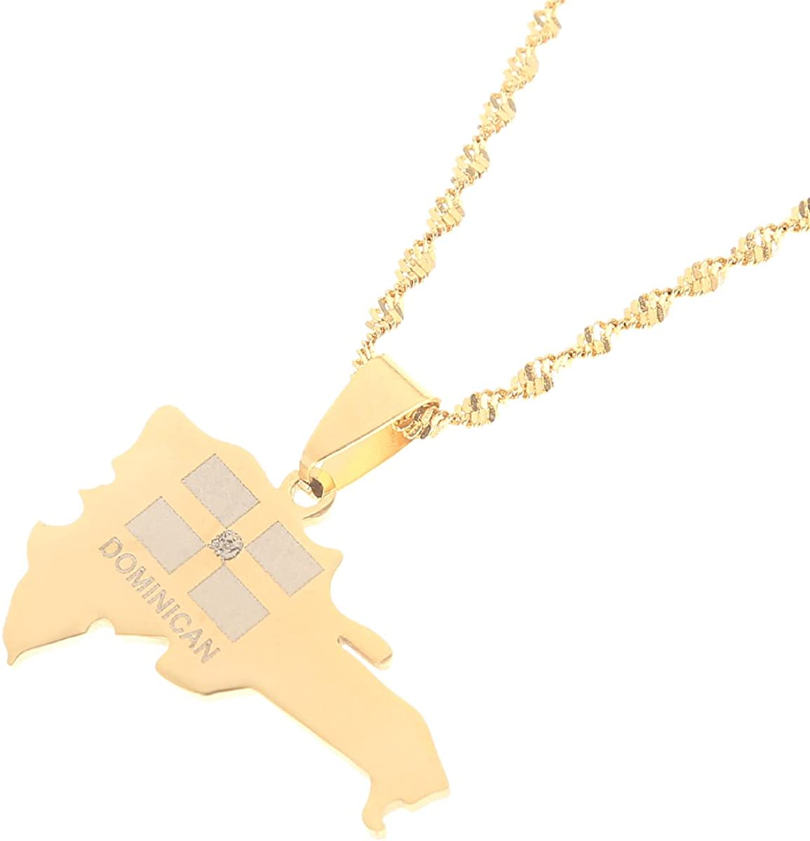 Stainless Steel The Dominican Republic Map Pendant Necklace for Women Gold Color Jewelry Map of Dominican