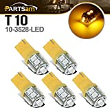 Partsam T10 LED Light Bulbs 5pcs 10-3528-SMD Chipset 194 168 Amber LED Replacement Bulbs Compatible with...