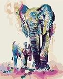 Alittle Pintar por Numeros para Adultos Nios Bricolaje Pintura al eo Kit por Numeros sobre Lienzo con 3X Lupa, Acrlica Pintar y Pinceles - Elefante Colorido Padre e Hijo 40cm x 50cm (sin Marco)