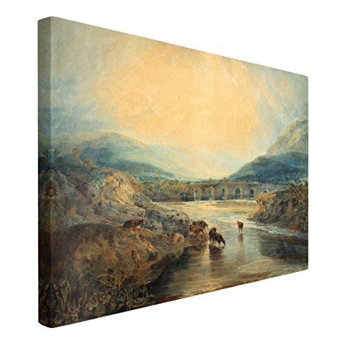 Bilderwelten Cuadro en Lienzo - William Turner - Abergavenny Bridge, Monmouthshire: Clearing...
