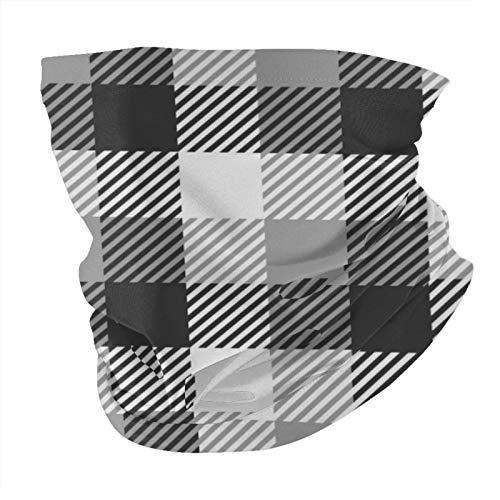 Bandana máscara facial patrón de cuadros de leñador en blanco y negro a prueba de polvo a prueba de viento variedad pañuelo para la cabeza pasamontañas para mujeres hombres