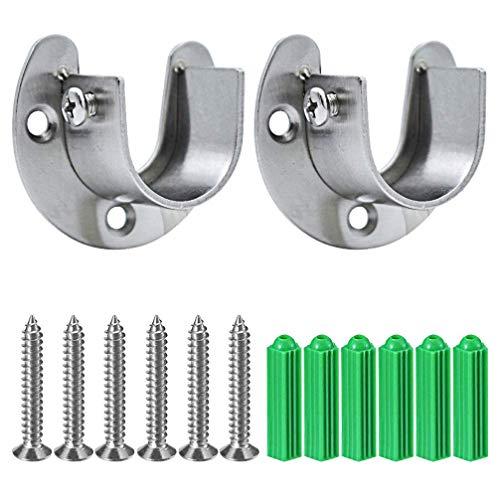 Pveath - Set di 2 staffe per aste da armadi, in acciaio inox, con viti, a forma di U, facile installazione o rimozione rapida, con flangia 25.5mm