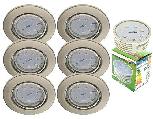 Trango 6er Set LED Einbaustrahler in Nickel Matt Rund TG6729-062M3 Bad Einbauleuchte, Deckenstrahler, Einbauspots, Deckenlampe incl. 6x 3000K warmweiß LED Modul Ultra Flach nur 3cm Einbautiefe