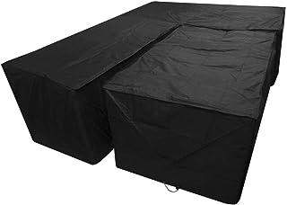 dDanke Black L Shape Sofa Cover & Rectangular Table Cover Set for Outdoor Patio Furniture Protection Sunproof Dustproof 10...