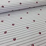 Jersey Stoff Meterware Streifen und Schmetterlinge grau