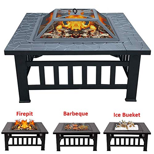 INMOZATA 3 in 1 Fire Pit with BBQ Grill Shelf for Garden Patio, Outdoor Metal Brazier Square Table Firepit Heater/BBQ/Ice Pit