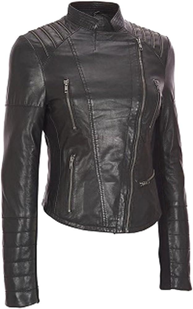 SleekHides Women's Fashion Leather Motorcycle Jacket Xs-5Xl